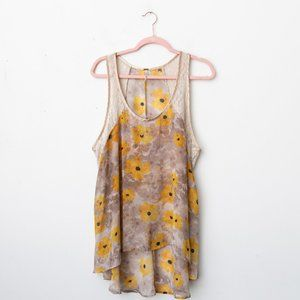Free People Yellow Floral Lace Sheer High Low Tank